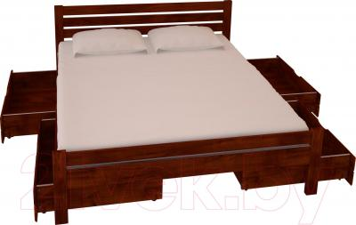 Двуспальная кровать НЗК Vesta Lux 180х200 (ольха 109/5) - ящики и матрас в комплект не входят