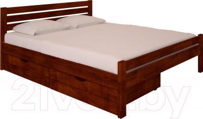 Двуспальная кровать НЗК Vesta Lux 160x200 (ольха 109/5) - ящики и матрас в комплект не входят