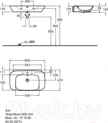 Умывальник накладной Keramag Silk 80x47 (121680-000)