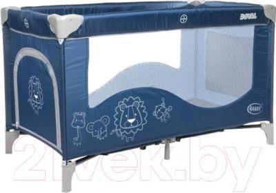 Кровать-манеж 4Baby Royal (синий)