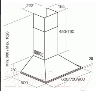 Вытяжка купольная Cata BETA VL3 BL (90, нержавеющая сталь)