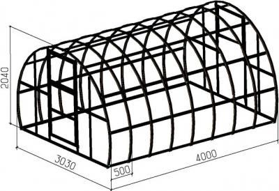 Теплица под поликарбонат БелОМО 0075-20 - размеры