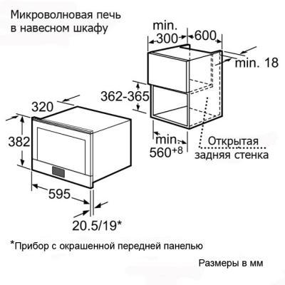 Микроволновая печь Bosch HMT85ML23 - схема встраивания