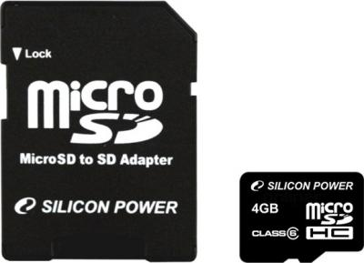 Карта памяти Silicon Power microSDHC (Class 6) 4 Gb (SP004GBSTH006V10-SP) - общий вид