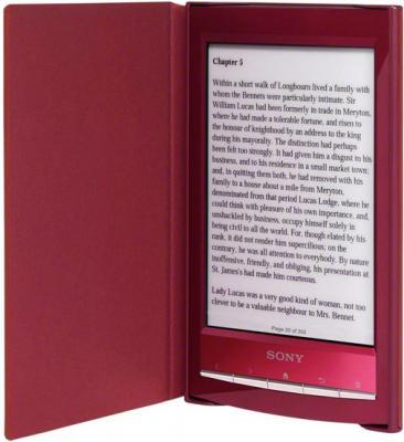 Обложка для электронной книги Sony PRSA-CL10 Red (PRSACL10R) - общий вид (с книгой)