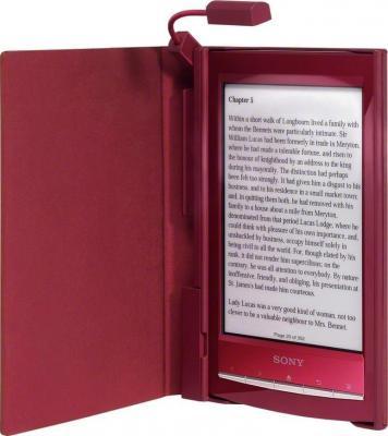 Обложка для электронной книги Sony PRSA-CL10 Red (PRSACL10R) - общий вид (с книгой и подсветкой)