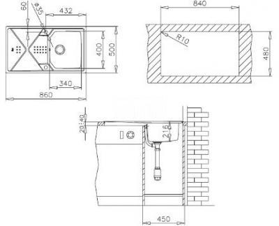 Мойка кухонная Teka Expression 45 B-CN (полированная) - схематическое изображение