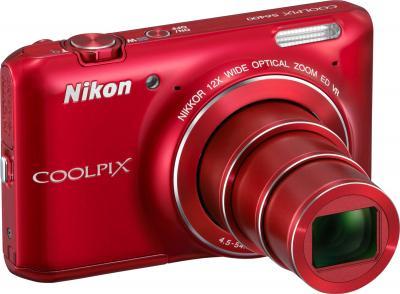 Компактный фотоаппарат Nikon Coolpix S6400 Red - общий вид
