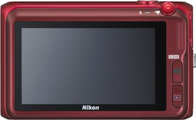 Компактный фотоаппарат Nikon Coolpix S6400 Red - вид сзади