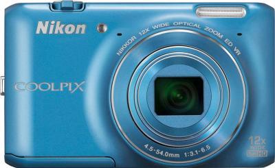 Компактный фотоаппарат Nikon Coolpix S6400 Blue - вид спереди