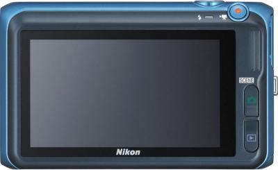 Компактный фотоаппарат Nikon Coolpix S6400 Blue - вид сзади