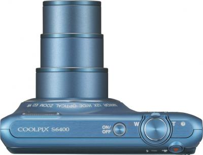 Компактный фотоаппарат Nikon Coolpix S6400 Blue - вид сверху
