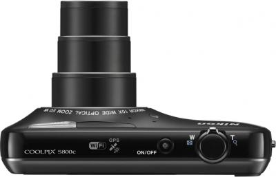 Компактный фотоаппарат Nikon Coolpix S800c Black - вид сверху