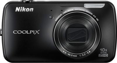 Компактный фотоаппарат Nikon Coolpix S800c Black - вид спереди
