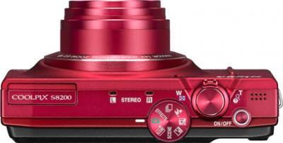Компактный фотоаппарат Nikon COOLPIX S8200 Red - вид сверху
