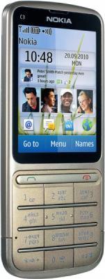 Мобильный телефон Nokia C3-01.5 Khaki Gold - полубоком