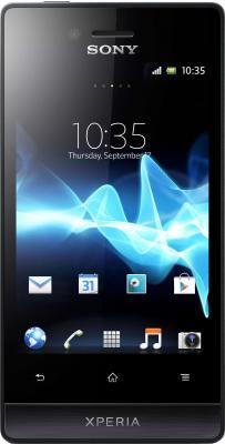 Смартфон Sony Xperia Miro (ST23i) Black - вид спереди