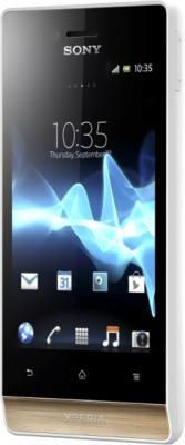 Смартфон Sony Xperia Miro (ST23i) White-Gold - вид полубоком