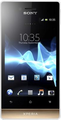 Смартфон Sony Xperia Miro (ST23i) White-Gold - общий вид