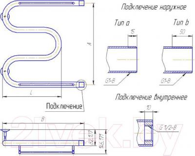 "Полотенцесушитель водяной Gloss & Reiter Standart M. М.50Х80 (1"")"
