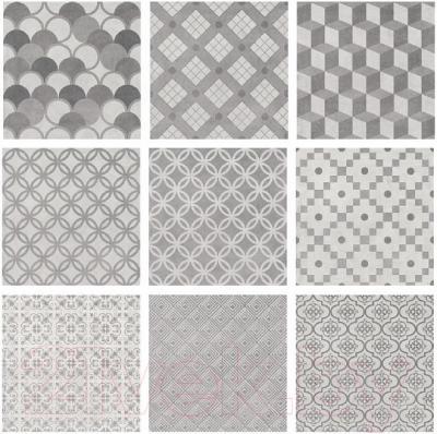 Декоративная плитка для ванной Kerama Marazzi Карнаби-стрит Орнамент 1576N (201x201, серый)