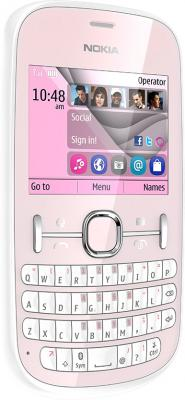 Мобильный телефон Nokia Asha 200 Light Pink - полубоком
