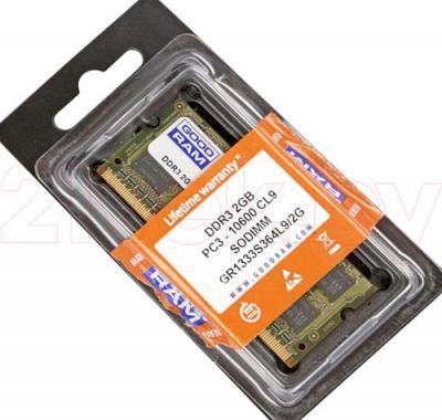 Оперативная память DDR3 Goodram 2GB DDR3 SO-DIMM PC3-10600 128x8 (GR1333S364L9/2G) - общий вид