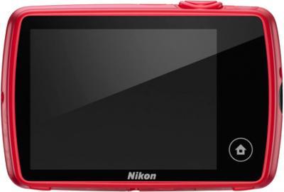 Компактный фотоаппарат Nikon Coolpix S01 Red - вид сзади