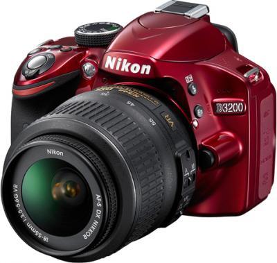 Зеркальный фотоаппарат Nikon D3200 18-55mm VR Red - общий вид