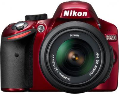 Зеркальный фотоаппарат Nikon D3200 18-55mm VR Red - вид спереди