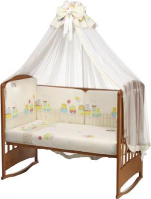 Комплект в кроватку Perina Аманда А4-01.2 (Веселый поезд  бежевый) - общий вид
