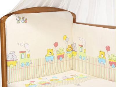 Комплект в кроватку Perina Аманда А4-01.2 (Веселый поезд  бежевый) - расцветка
