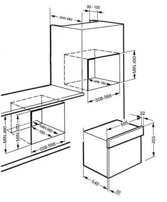 Микроволновая печь Smeg SC45MB2 - схема встраивания