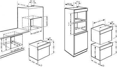 Электрический духовой шкаф Smeg SC45MCB2 - схема встраивания