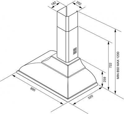Вытяжка купольная Smeg KC19A - схематическое изображение