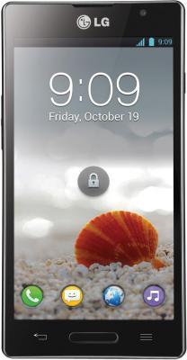 Смартфон LG Optimus L9 / P765 (черный) - вид спереди