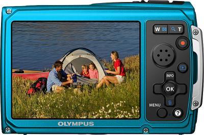 Компактный фотоаппарат Olympus TG-320 Blue - вид сзади