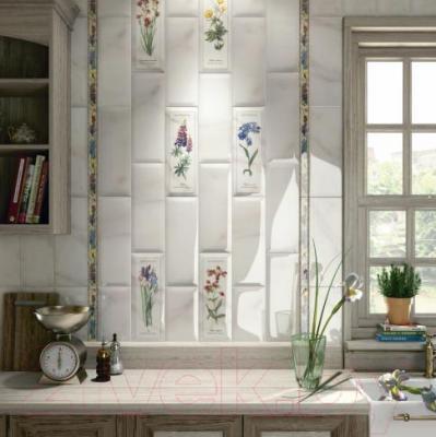 Декоративная плитка для кухни Kerama Marazzi Ноттингем Цветы Грань NT\A85\15005 (400x150)