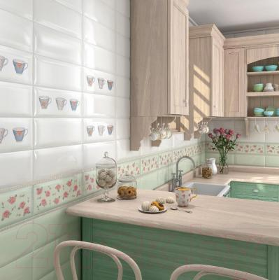 Декоративная плитка для кухни Kerama Marazzi Веджвуд Цветы Грань 15034N (400x150, зеленый)