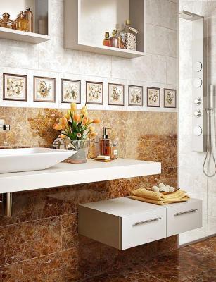 Декоративная плитка для ванной Intercerаmа Centurial П 97 031 (600x230, светло-коричневый)