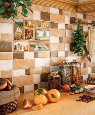Декоративная плитка для кухни Intercerаmа Grani Д 74 031 1 (350x230, коричневый)