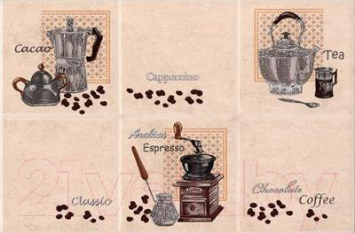 Декоративная плитка для кухни Intercerаmа Lucia Д 21 021 (350x230, светло-бежевый)