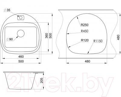 Мойка кухонная Granula GR-5050 (графит)