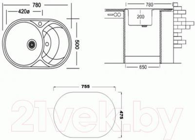 Мойка кухонная Granula GR-7801 (графит)