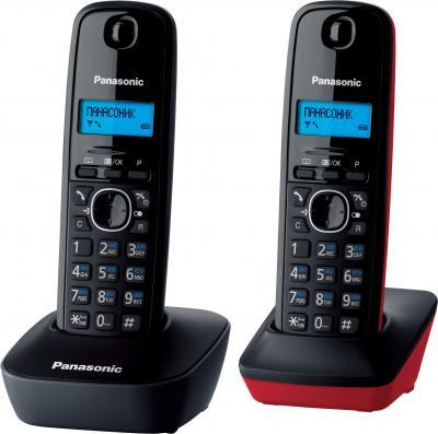 Беспроводной телефон Panasonic KX-TG1612  (серо-красный) - общий вид