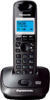 Беспроводной телефон Panasonic KX-TG2521  (темно-серый металлик) - вид спереди