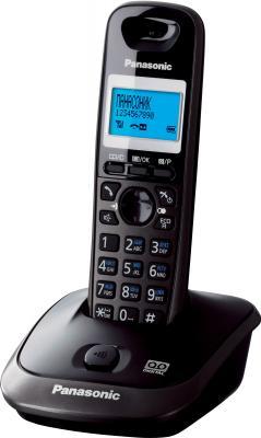 Беспроводной телефон Panasonic KX-TG2521  (темно-серый металлик) - вид сбоку