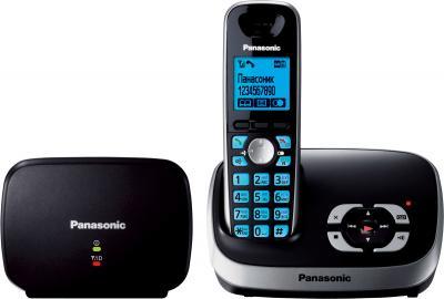 Беспроводной телефон Panasonic KX-TG6541 (черный) - вид спереди