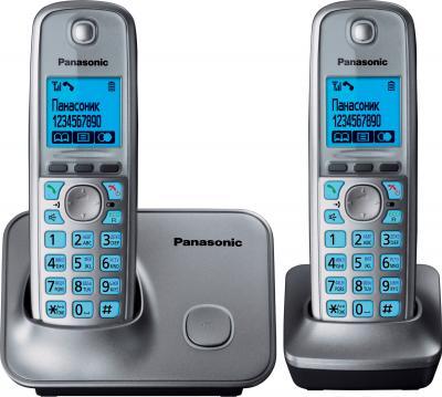 Беспроводной телефон Panasonic KX-TG6612 (Metallic Gray, KX-TG6612RUM) - вид спереди