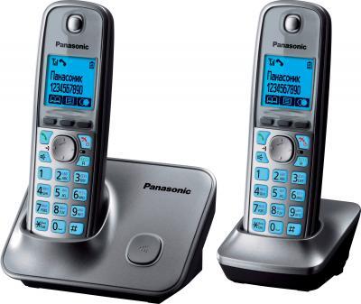 Беспроводной телефон Panasonic KX-TG6612 (Metallic Gray, KX-TG6612RUM) - вид сбоку
